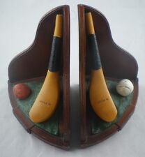 Golf Club/Ball Bookends, Philps/McEwan Club, Feathery/Gutta Ball, c1840-65