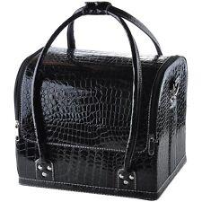Black Crocodile Makeup Train Bag Handbag Case w/ Removable Tray Cosmetic Jewelry