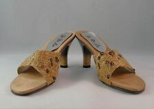 Women's Ladies Shoes Pump Mule Open Toe Satin Lace Sequined Party Brown Size 5