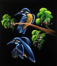 "Painting On Velvet Cloth Colorful  Beautiful Birds 19"" X 16"" free Shipping"