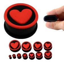 Stretchers Jewellery Piercing Tunnels Pl119 Red Heart Black Siicone Ear Plugs