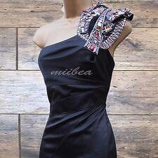 Size 10 UK Karen Millen Black Beaded One Shoulder Wedding Party Pencil Dress