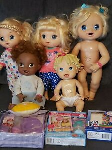 Huge Lot Of 5 Talking Baby Alive Dolls And Accessories Food Diaper Bottle* Sara