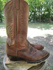 VTG Mens JUSTIN COWBOY BOOTS Exotic SNAKESKIN Python Brown WESTERN Boots Size 9