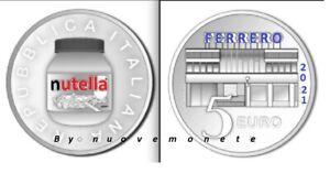 """2021 ITALIA TRITTICO 5 euro argento FDC """" NUTELLA"""" MONETE COLORATE IN PREVENDITA"""