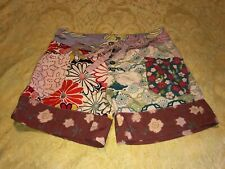 Desigual Womens Tie Front Zip Shorts Size 28 Pink Red Yellow Beige Multi