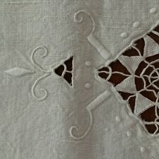 Vtg tablecloth ivory linen madeira? raised embroider open drawn work heavy lace