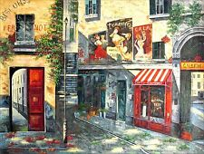 Stretched Quality Hand Painted Oil Painting Street Corner Storefronts 36x48in