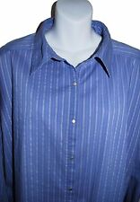 CHICO'S DESIGN Blue Pin Stripe Shirt, Snap Front, Long Slvs Snap Cuffs, Size 3