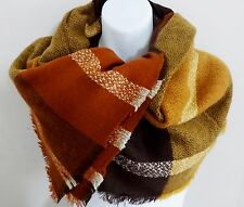Striped blanket scarf wrap orange brown gold beige rectangle 33 by 78 inches
