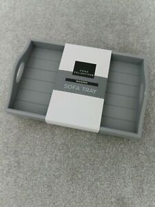 Wooden Small Trendy Sofa Trays Contemporary Access Grey and White Free Shipping