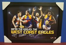 West Coast Eagles Signed AFL Print BLACK Frame Darling Naitanui Kennedy Shuey