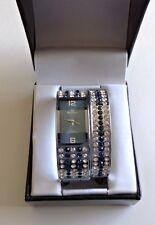 Mark Naimer Watch & Bracelet Set Clear Blue Rhinestone Fashion Jewelry Set