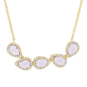 1.96tcw 14K Yellow Gold Pear Shape Purple Amethyst And Diamond Pendant Necklace