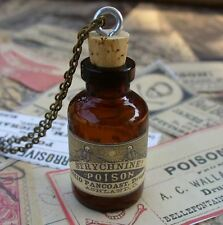 Steampunk necklace pendant bottle gothic lolita charm skull apothecary Victorian