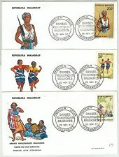 64886  - MADAGASCAR - POSTAL HISTORY - SET of 3 FDC COVERS: MUSIC DANCE 1967