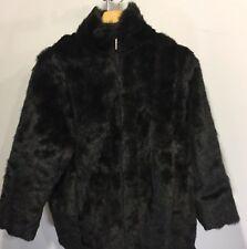 ATELIER by B THOMAS Faux Mink Fur Reversible Coat Black & Black Interior
