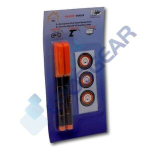 2 Permanent Ultra Violet Security Property Marker Marking Pens Invisible UV Ink