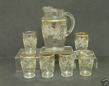 7 pc Bartlett-Collins RAISED GRAPEVINE DECORATION 806 Clear/White Beverage Set.