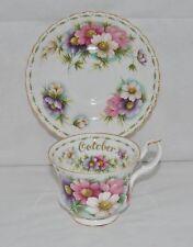 "Beautiful Royal Albert, Flower Of The Month ""Cosmos"", OCTOBER, Bone Tea Cup Set"