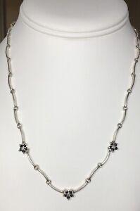 Estate Vintage Ross Simons Sterling Silver 925 Sapphire Diamond Necklace 9.82g