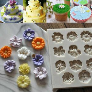 11 Blumen Fondant Silikon Kuchenform Ausstechform Ausstecher Tortendeko Mould BE