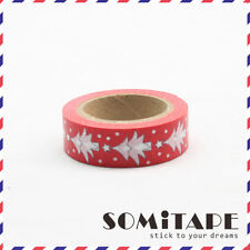 Red and White Christmas Trees Washi Tape, Craft Decorative Tape
