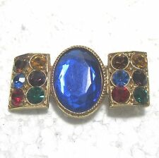 """Pieces pin with colored rhinestones 2.2""""x1.2"""" csj"""