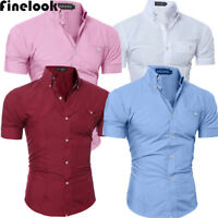 US Luxury Men's Slim Fit Shirt Short Sleeve Stylish Formal Casual T-shirt Tops