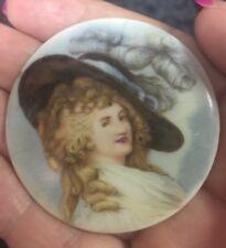 """Antique Victorian Portrait Painting Porcelain Limoges France Miniature 2"""" Cameo"""