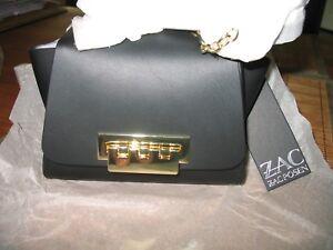 NWT ZAC Zac Posen Eartha Mini Chain Leather Crossbody Bag BLACK