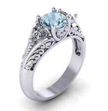 Fashion Women Aquamarine Gemstone Silver Ring Wedding Engagement Jewelry Sz 6-10
