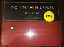 ❤️ TOMMY HILFIGER Tommy 200 TWIN Size Flat Cotton Bed Sheet RED NEW NWT