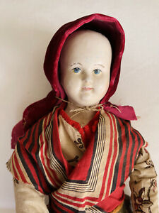"Rare & Early Papier Mache on Cloth Body Pauline face doll 19"" 1830/40"