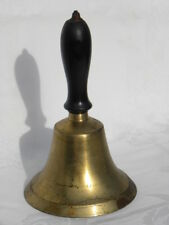 "Vintage Brass Hand School Bell with Wooden Handle 8"""