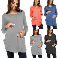 Womens Maternity Shirt Dress Tunic Tops Long Loose Fit Pregnancy Blouse T-shirts