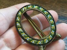Antique early 1900's Italian miniature mosaic picture frame with Yellow flowers