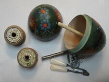 More details for vintage wooden painted egg with cotton reels