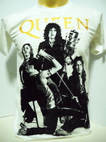 Queen British rock band Freddie Mercury Brian May music white t shirt size S-XL