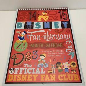 Disney D23 2014-2015 Fan-niversary 23 Month Calendar Spiral Bound - Quick Ship!