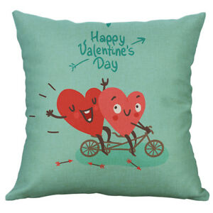 """Valentine's Day Decoration Linen Pillow Cover Couple Red Heart Cushion Cover 18"""""""