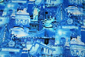 GLITTERY NEW YORK CITY LANDMARKS FROM TIMELESS TREASURES - 100% COTTON FABRIC