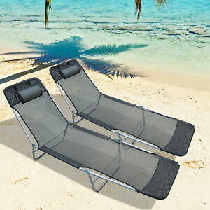 Outsunny 2PC Sun Lounger Folding Chaise Chair Indoor Outdoor Furniture w/ Pillow