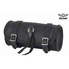 """Black 10"""" Universal Motorcycle Tool Bag with Braided Accent & Concho Waterproof!"""