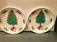 2 HAND PAINTED ITALY CHRISTMAS TREE PLATES HOLLY BERRY BORDERS  10 1/4''