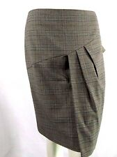 Focus 2000 Skirt Size 6 Brown Plaid Pleated Stretch K1596 Career Tweed A-Line