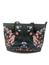 Nanette Lepore Athena Used Vegan Leather Floral Handbag Tote Purse Shoulder Bag