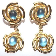 Vintage Jelly Belly Cabochon Aqua Blue Gold tone Clip On Dangle Drop Earrings