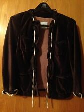 ee8b0a06c30 Moschino Cheap and Chic Brown Velvet Jacket Blazer Pearls Size 40 Manner  Chanel