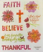2 Sheets Religious Inspire Words Floral Faith Bible Stickers Papercraft Planner